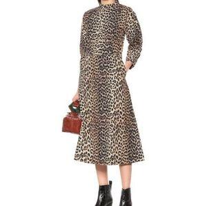 Ganni Leopard Print Cotton Dress